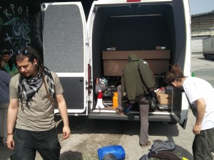 Unloading our van for the last time